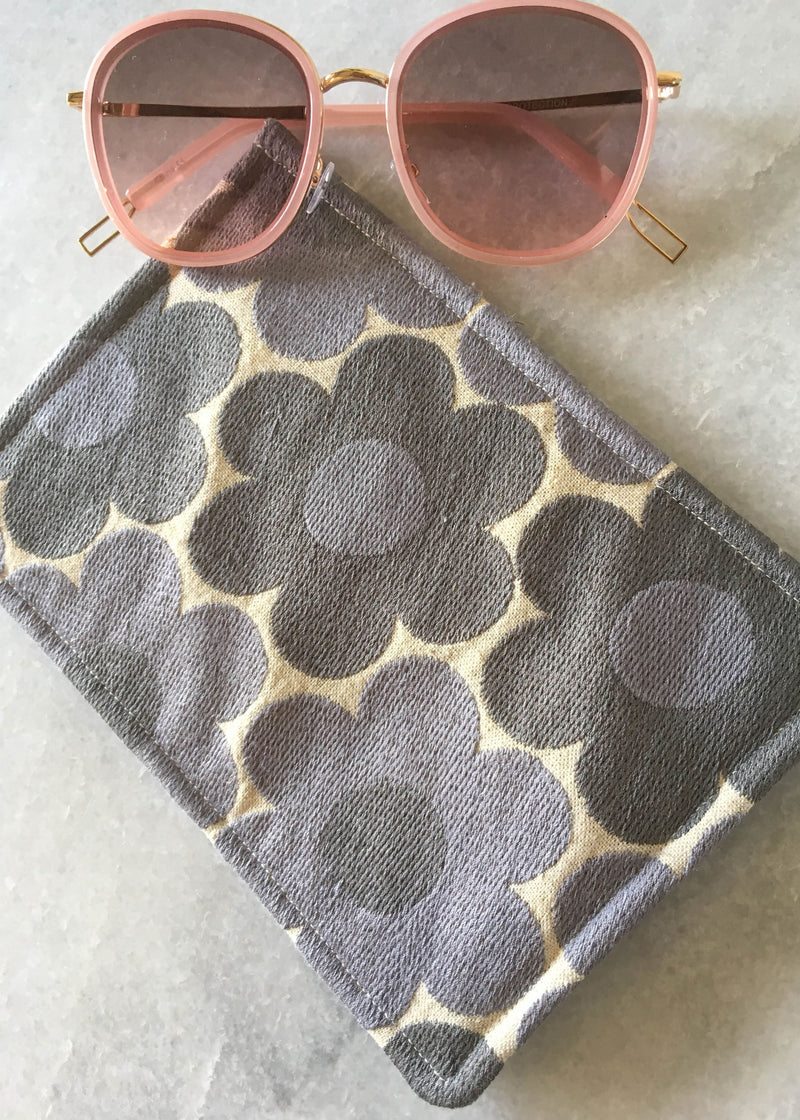 Embroidered Sunnies Case - Pink Floral - AMĒNAH