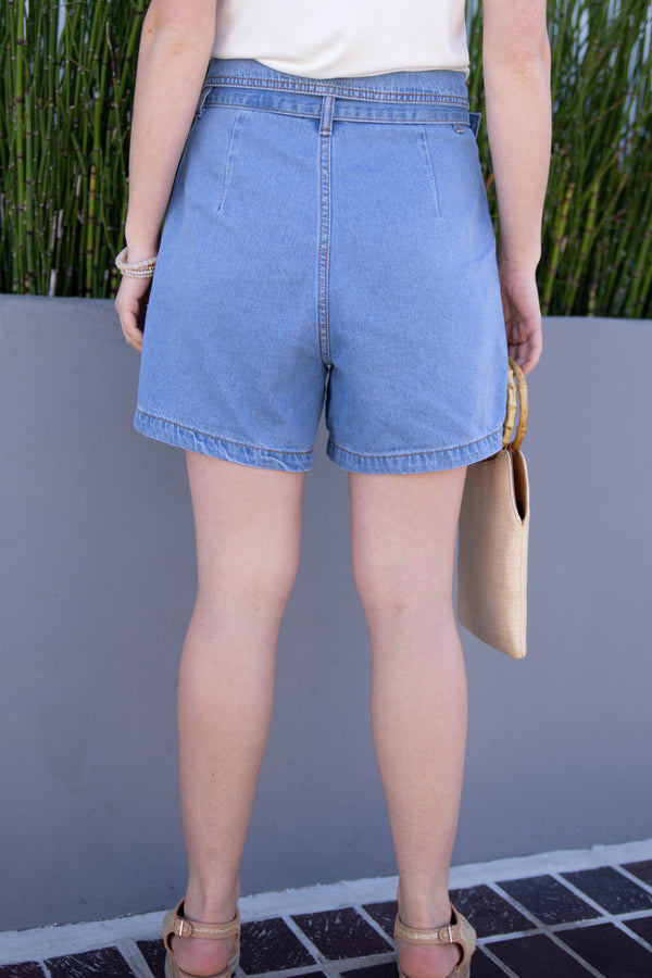 tuxedo shorts, summer 2019 trends, spring 2019 trends, retro jean shorts, paper bag denim shorts, outfit ideas for summer, outfit ideas for spring, march new arrivals, high rise shorts, high rise paper bag denim shorts, high rise jean shorts, high rise denim shorts, cute high rise jean shorts