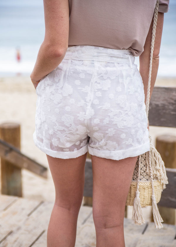 Organza Textured High Rise Shorts - AMĒNAH