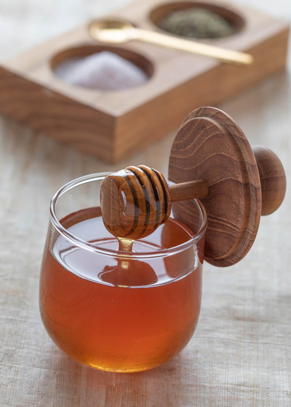Teak & Glass Mini Honey Jar