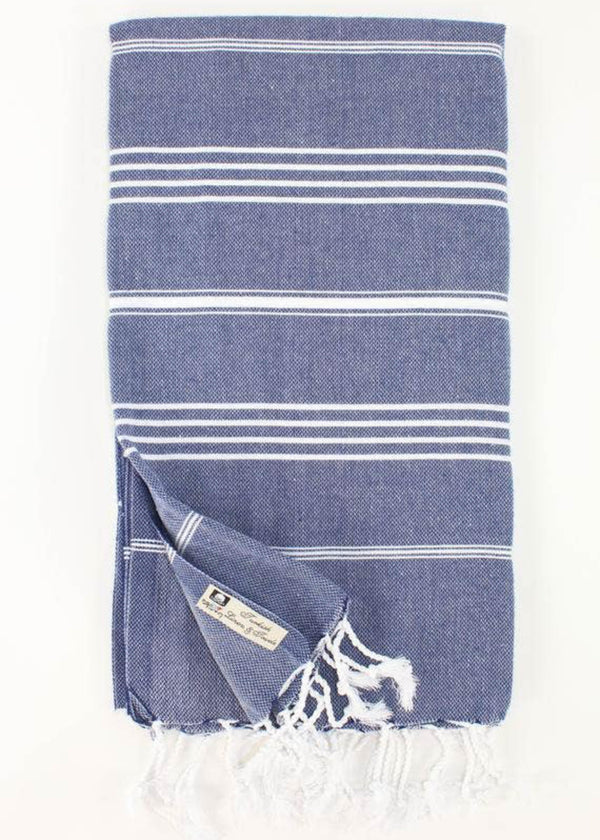 Turkish Towel - Navy Striped - AMĒNAH