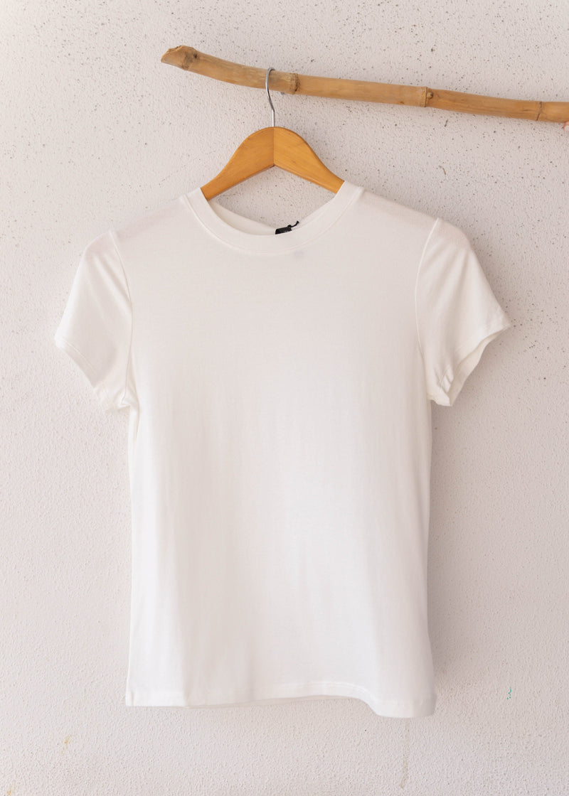 Crepe Fitted Crew Neck Tee - Ivory
