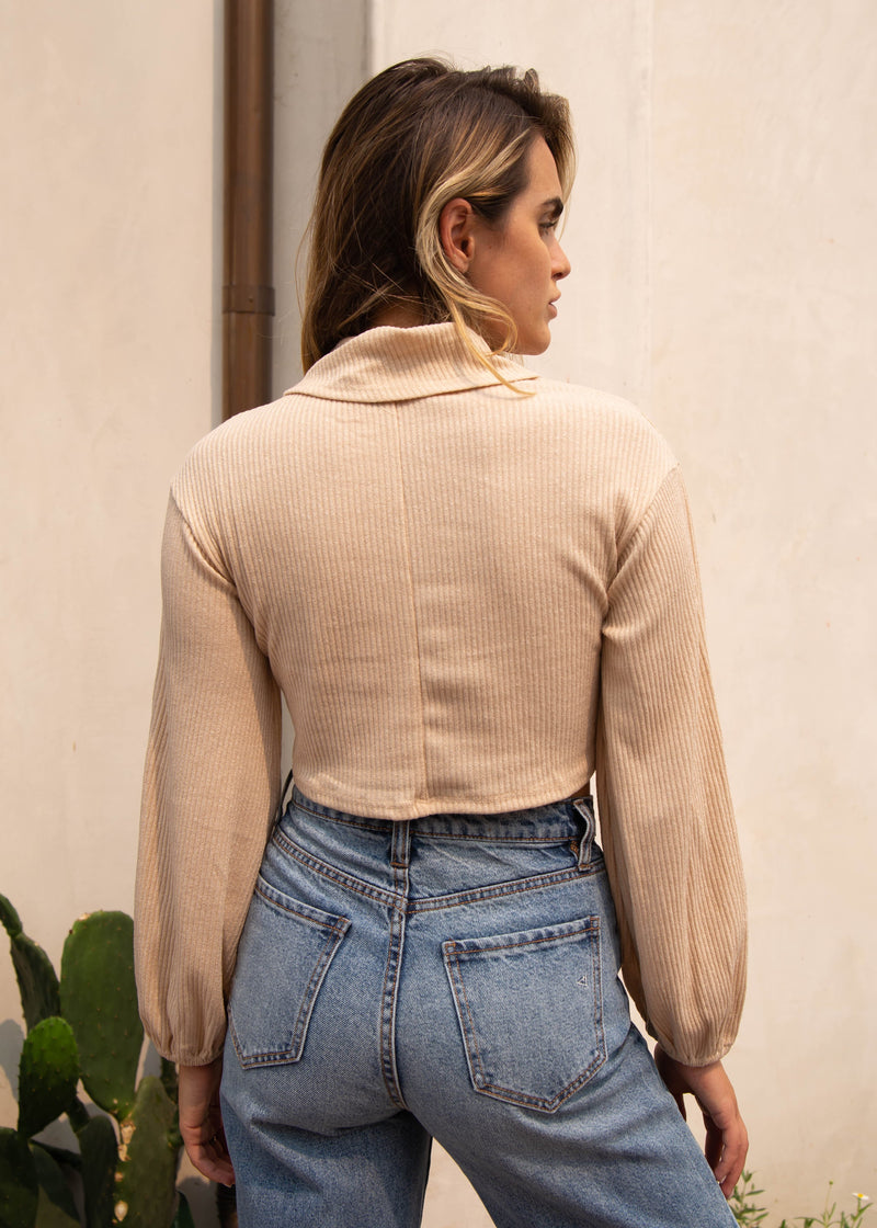 Kendall Cropped Turtleneck - Sand