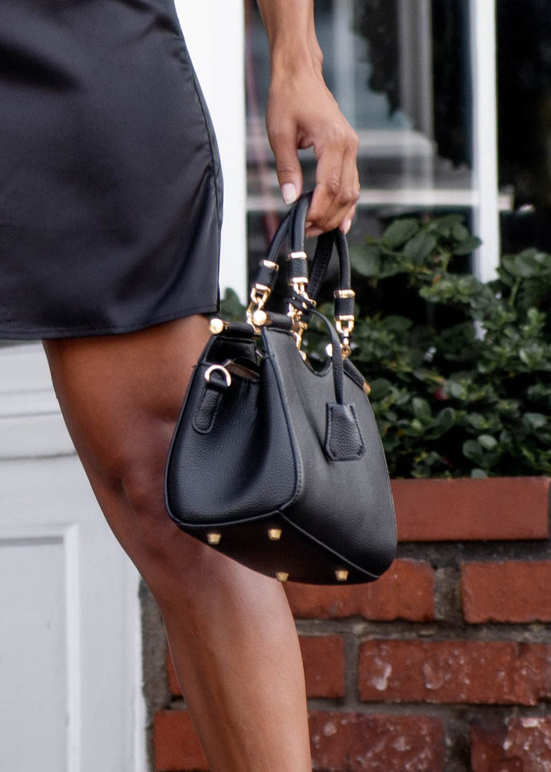 Vegan Pebble Leather + Gold Mini Bag - Black
