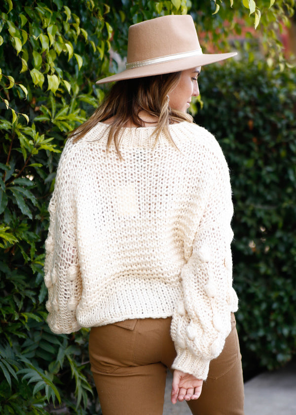 Knobby Sleeve Pullover Sweater - AMĒNAH