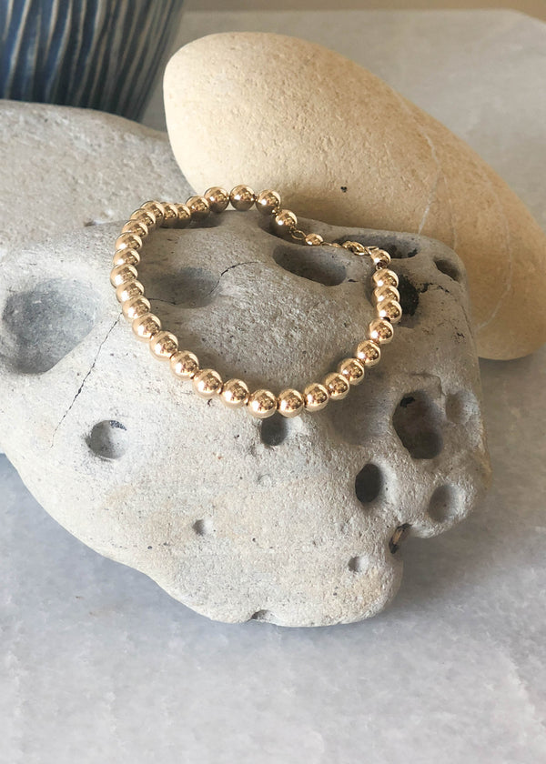 Gold Filled Large Round Bead Bracelet
