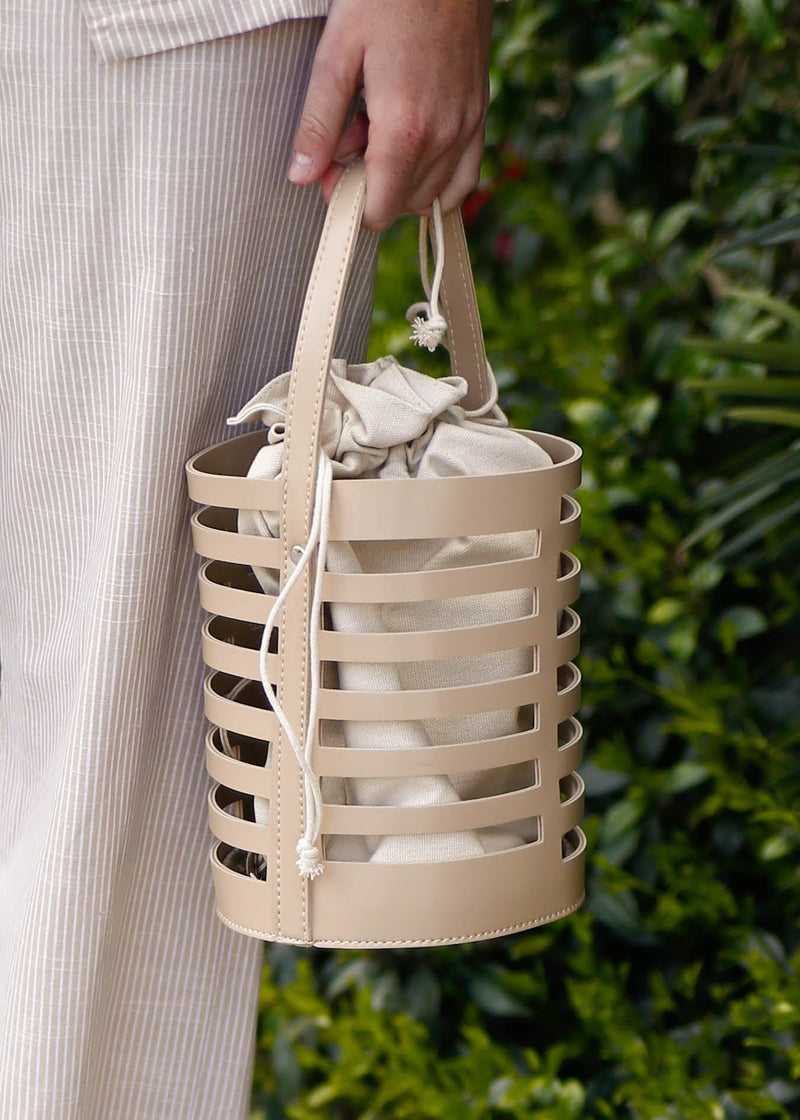 Laser Cut Canvas Lined Bucket Bag-Beige - AMĒNAH