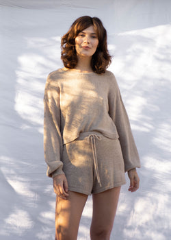 Egan Sweater Knit Short - Taupe