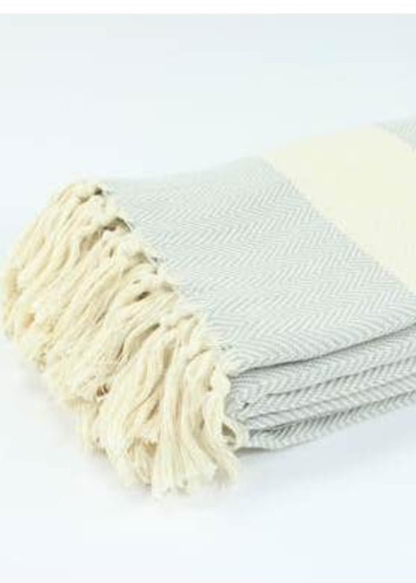 Turkish Towel - Large Grey Herringbone - AMĒNAH