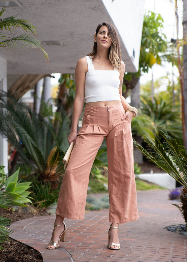High Rise Linen Top Stitch Pant - AMĒNAH