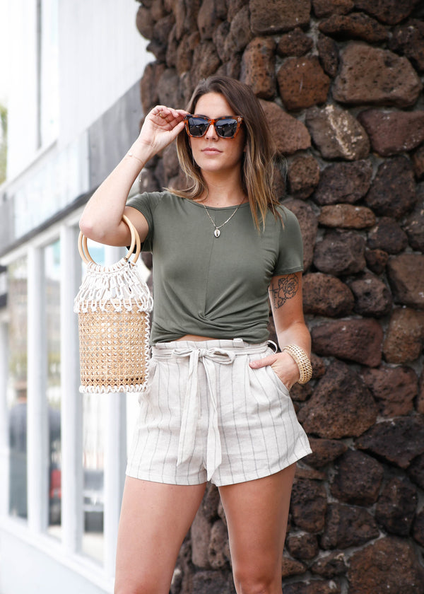 Pleated High Rise Short