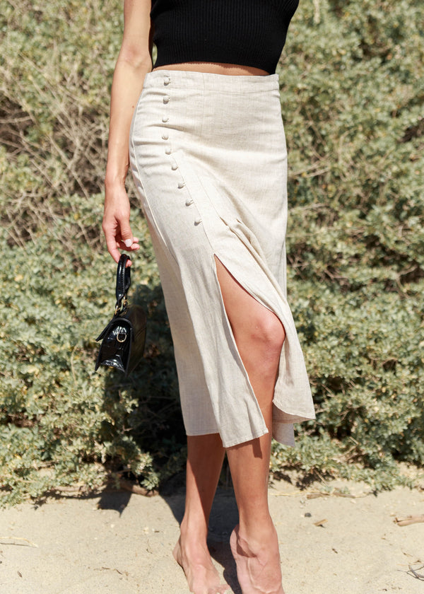 Offshore Button Midi Skirt