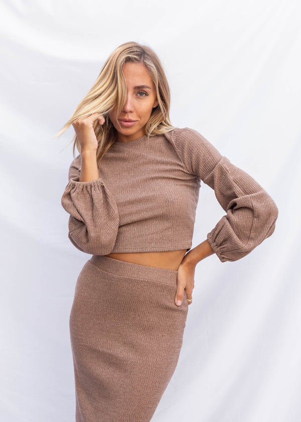 Aster Bell Sleeve Crop Top - Taupe Brown