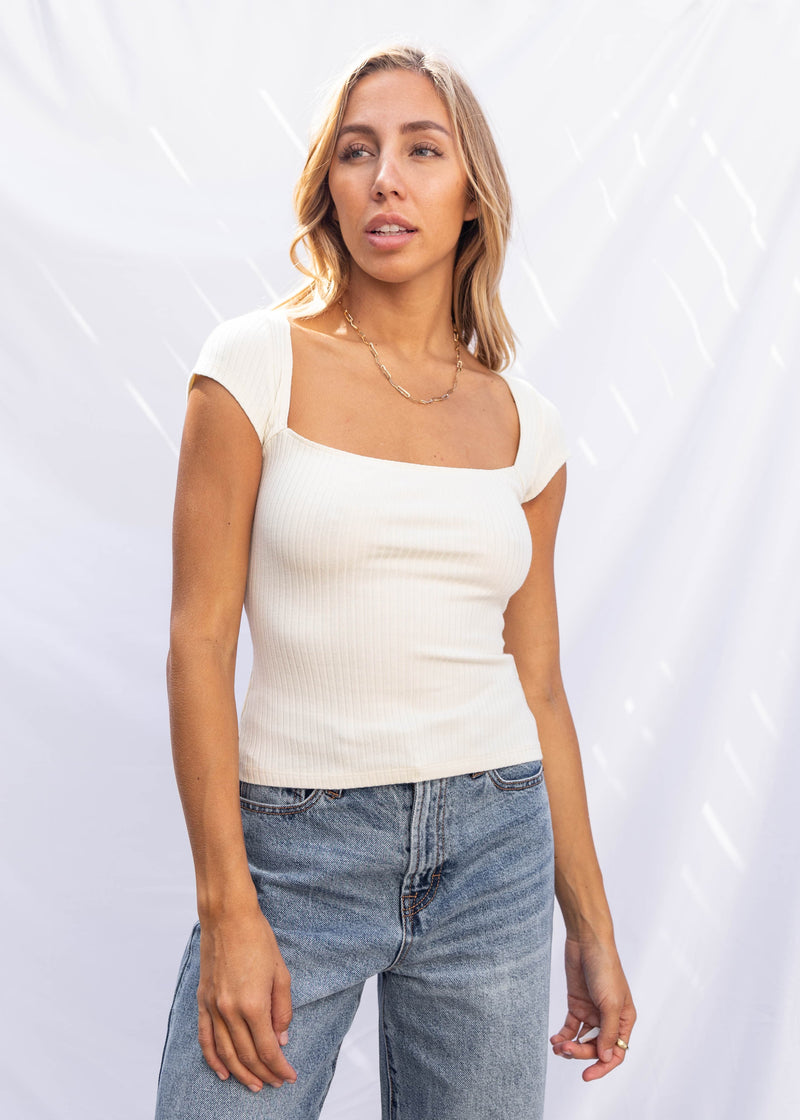 Carrara Ribbed Tee - Cream