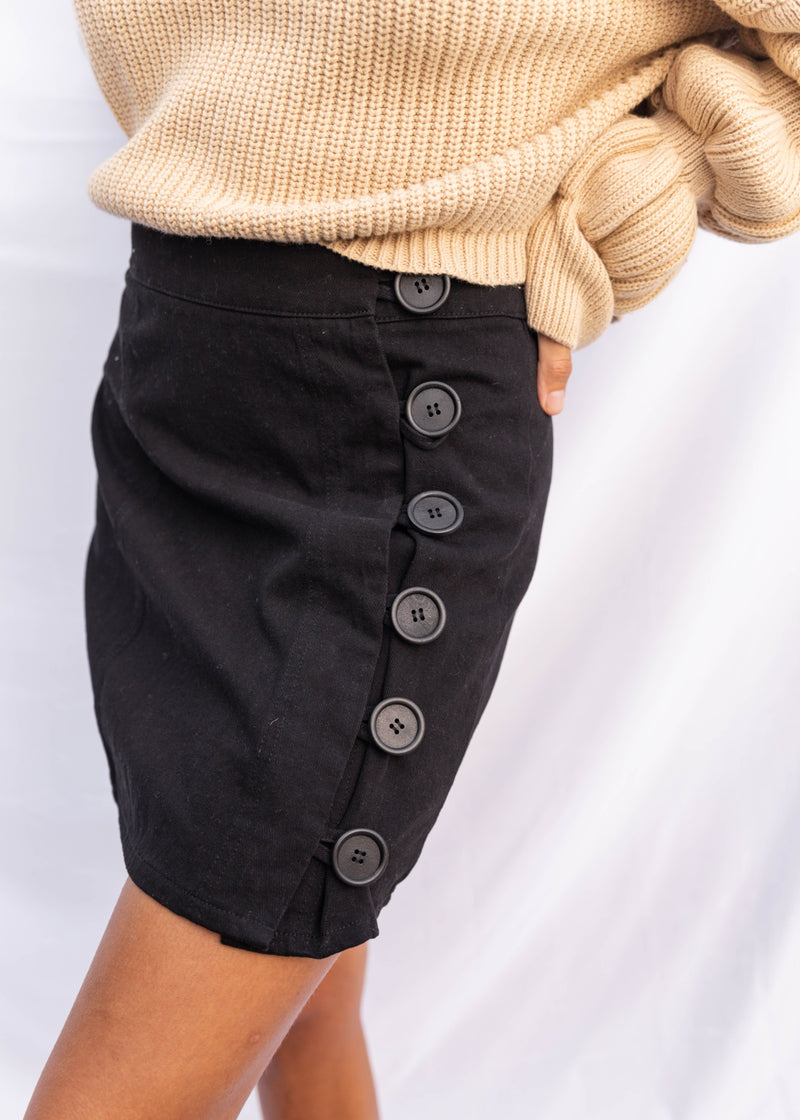 Cortez Side Button Skirt - Black