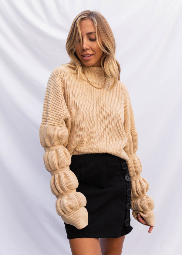 Donna Cropped Sweater - Beige