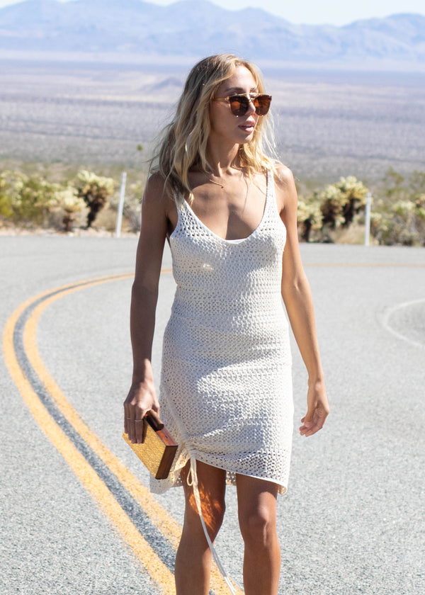 Crochet Side Ruched Dress - AMĒNAH