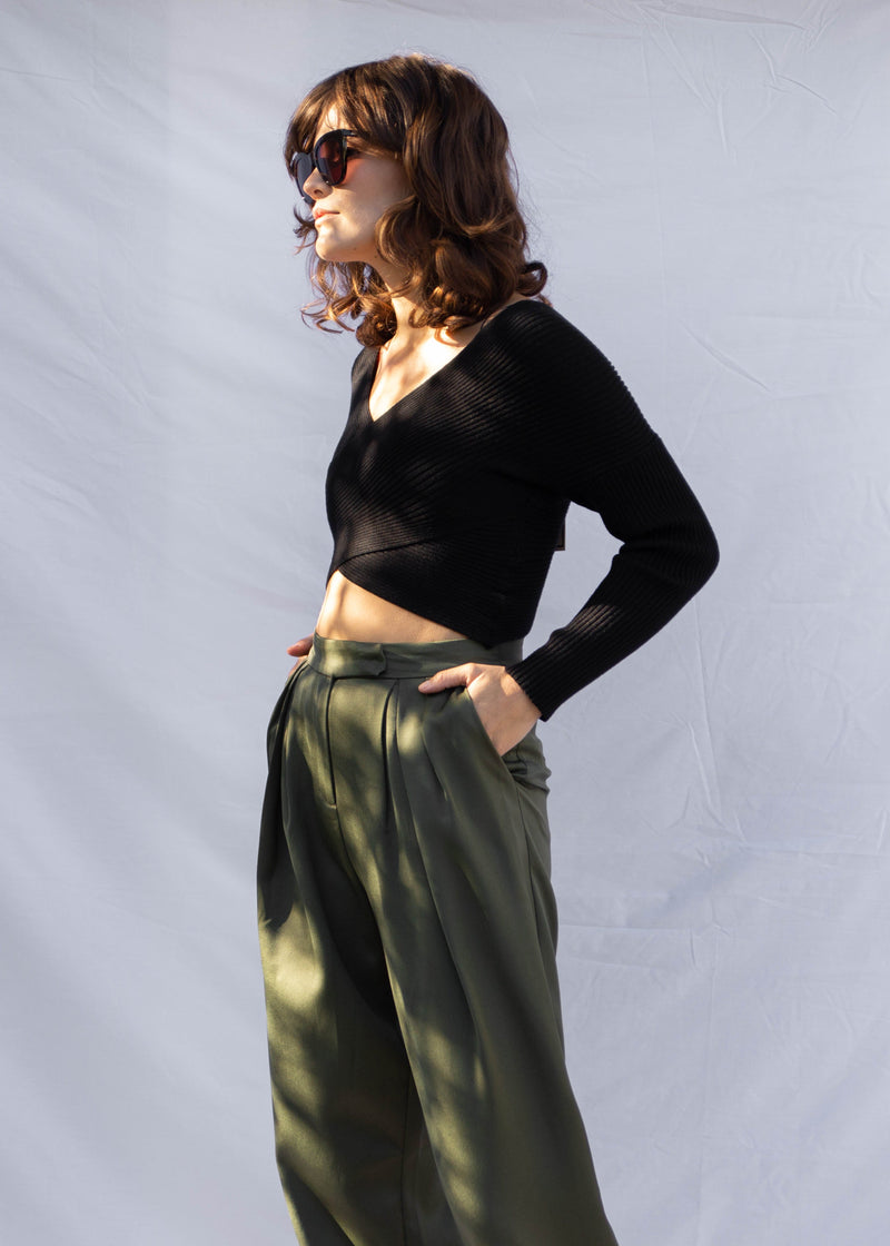 Marlin Satin Trouser - Olive