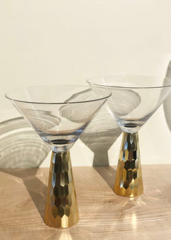 Gold Geo Martini Glass - Set of 2 - AMĒNAH