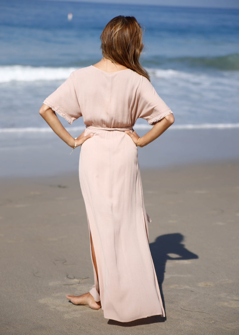 Frayed Sleeve Wrap Maxi Dress - AMĒNAH