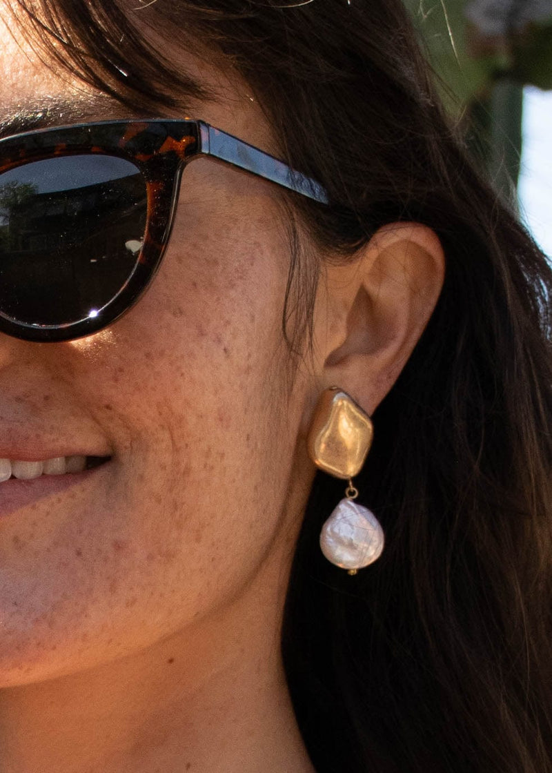 Mother Of Pearl Gold Drop Earrings