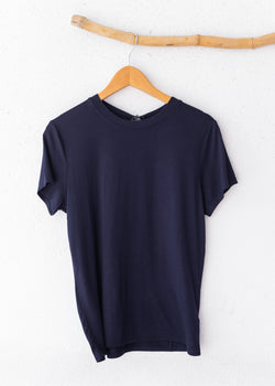 Crepe Fitted Crew Neck Tee - Navy
