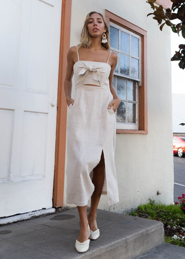 Sleeveless Linen Tie + Slit Midi Dress - AMĒNAH