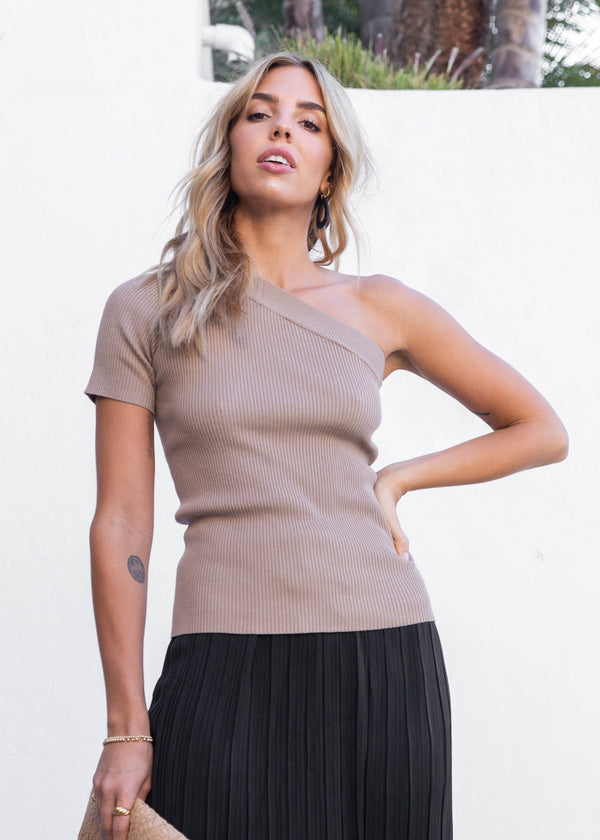 One Shoulder Rib Top - Mocha