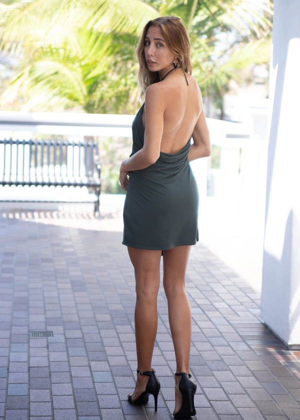 Side Ruched Backless Halter Dress