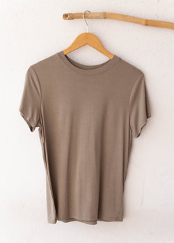 Crepe Fitted Crew Neck Tee - Olive
