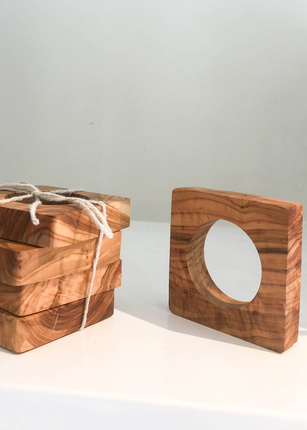 Olive Wood Square Napkin Rings - Set of 4