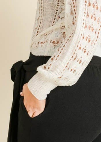 Crochet Knit Crew Neck Sweater - AMĒNAH