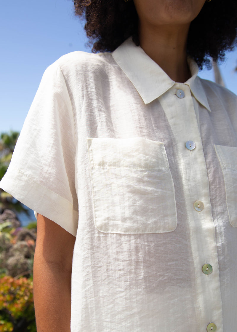 Organza Cropped Collared Blouse - Ivory
