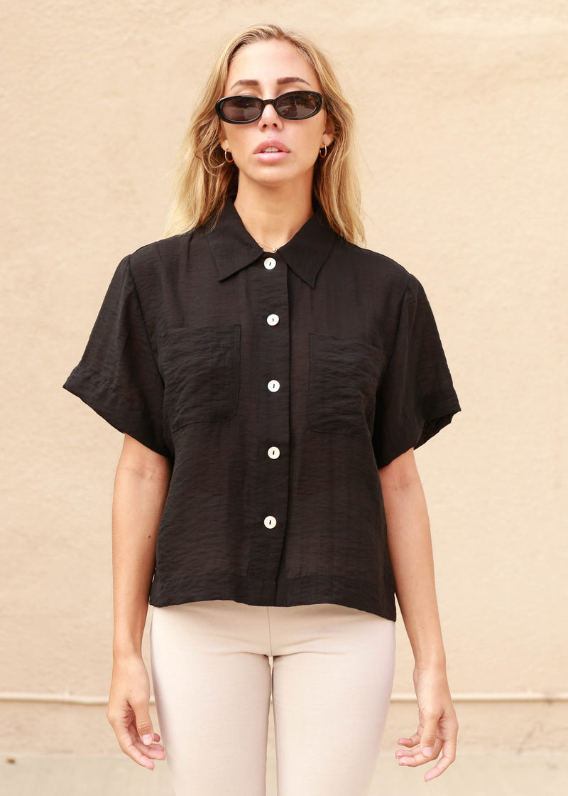 Organza Cropped Collared Blouse - AMĒNAH