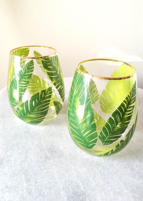 Palm Stemless Wine Glass - Set of 2 - AMĒNAH