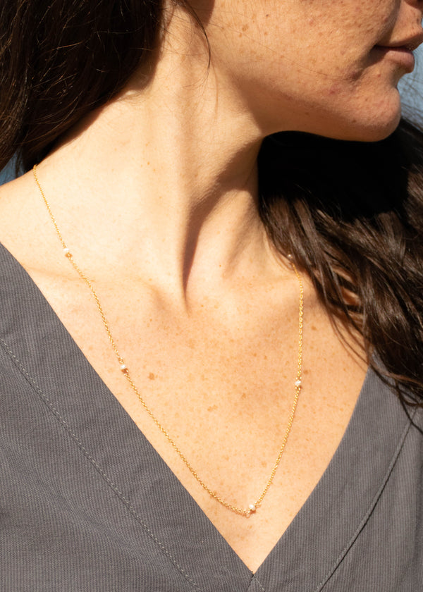 Fresh Water Pearl Layering Necklace- 14K Gold Filled - AMĒNAH