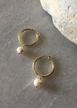 Pearl Dangle Hoop Earrings - AMĒNAH