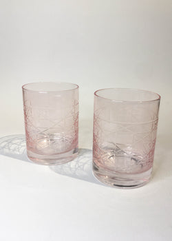 Pink Cane Old Fashioned Glass - AMĒNAH