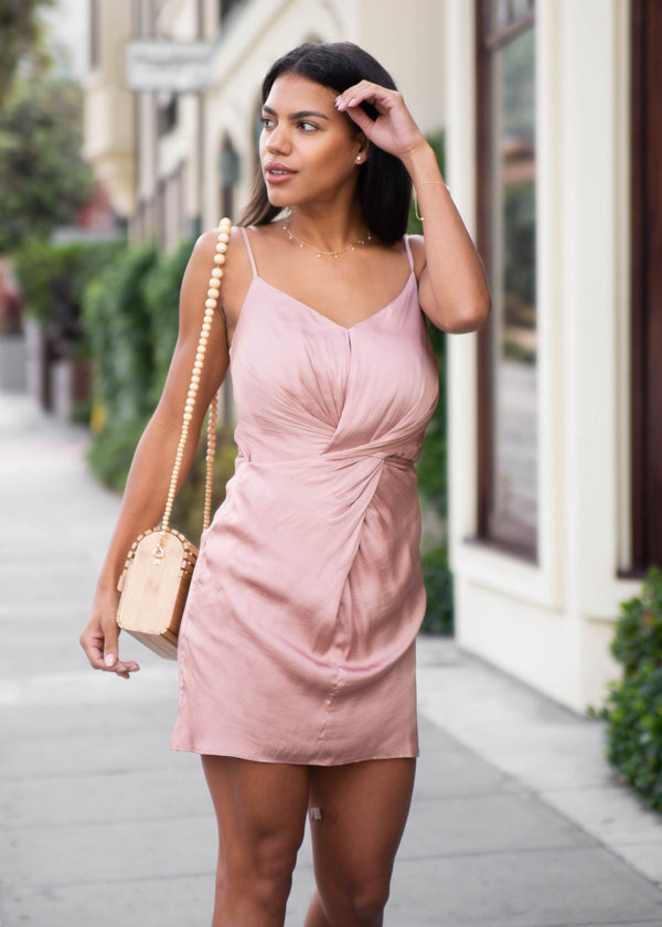 Satin Twist Front Mini Dress