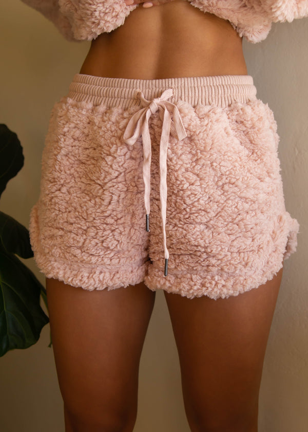 Heather Shearling Shorts