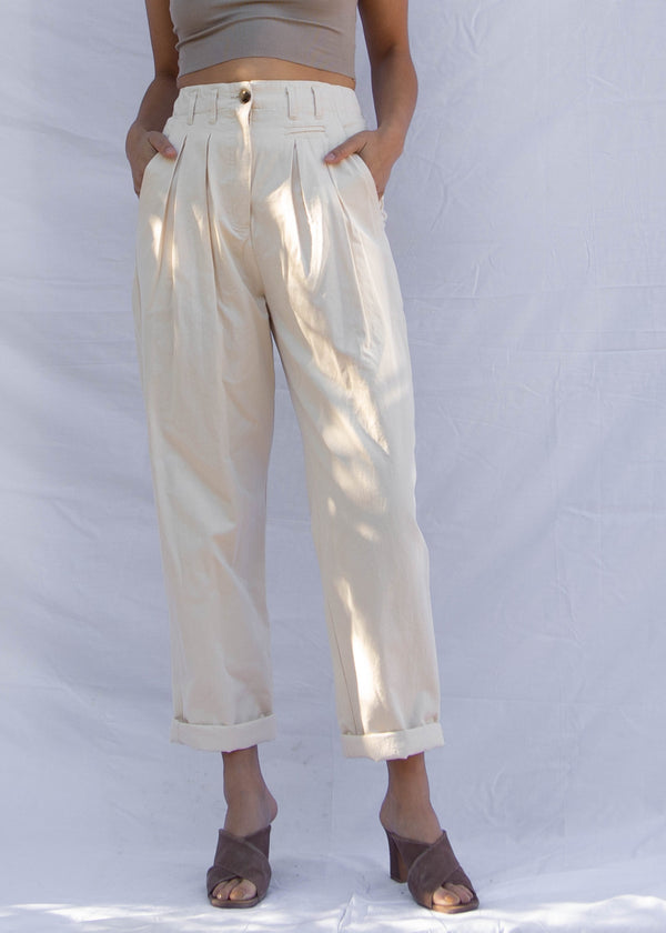 Anita Pleated Trouser - Ivory