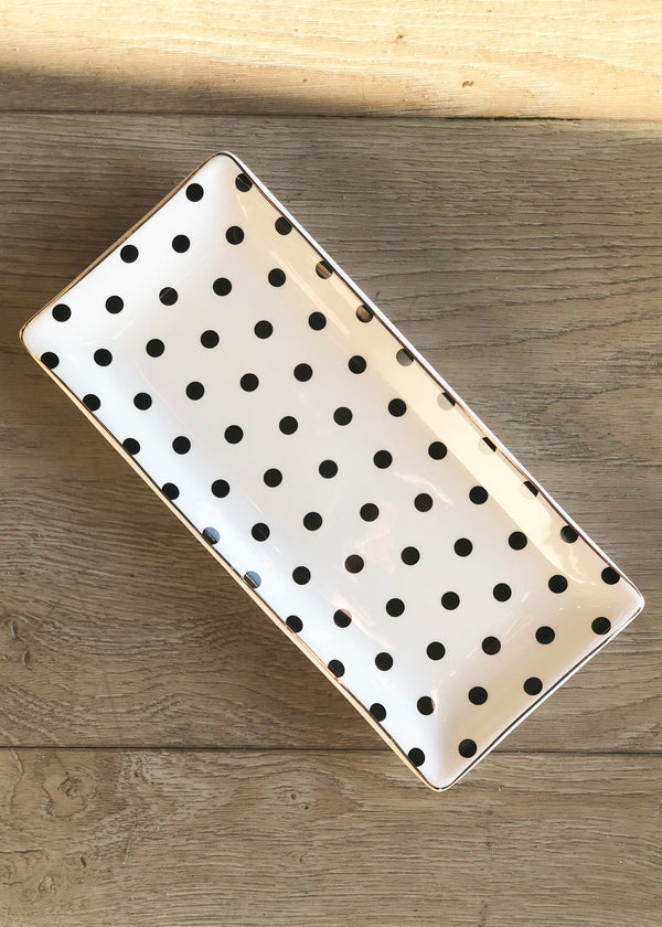Ceramic Polka Dot Tray - AMĒNAH