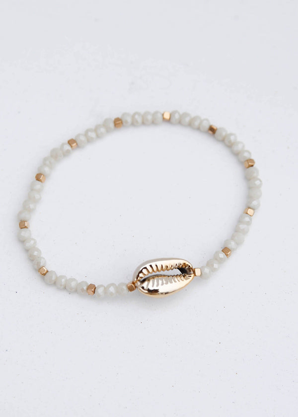 Gold Puka Shell Beaded Bracelet - AMĒNAH