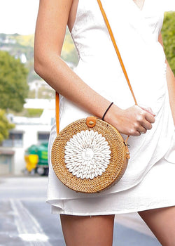 Puka Shell Rattan Crossbody- Natural - AMĒNAH