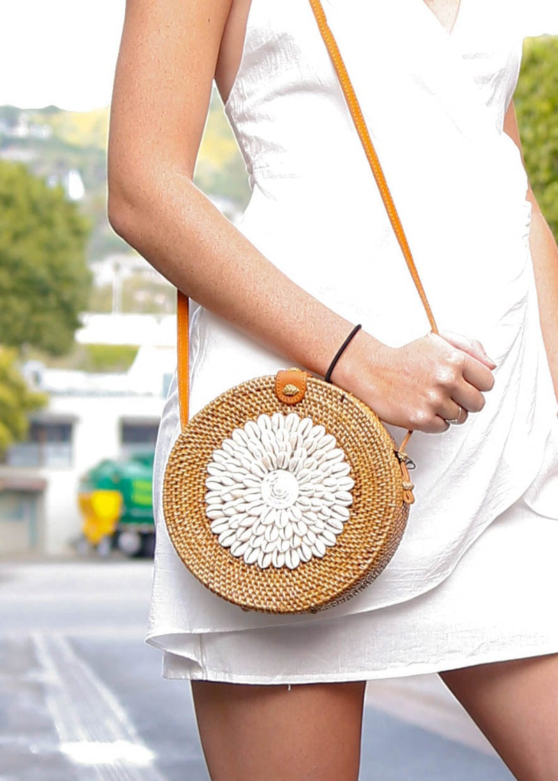Puka Shell Rattan Crossbody- Natural