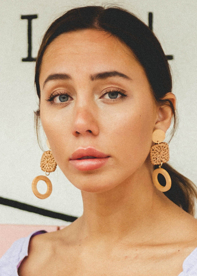 Rattan + Wood Drop Earrings