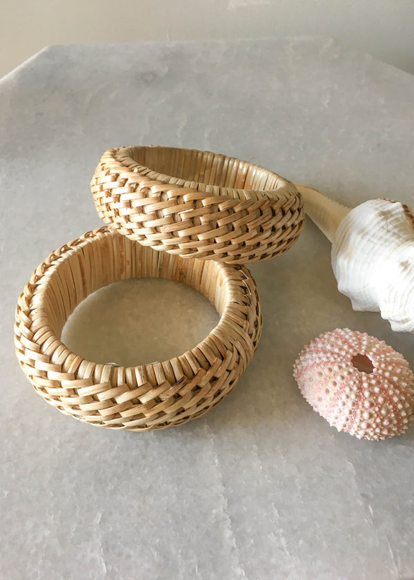 Rattan Cross Weave Large Bangle - AMĒNAH