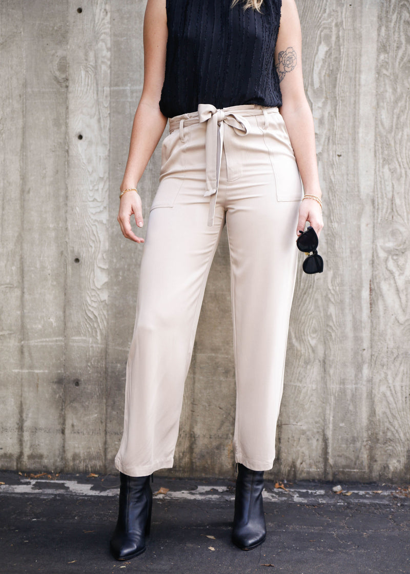 High Rise Rayon Trouser - AMĒNAH
