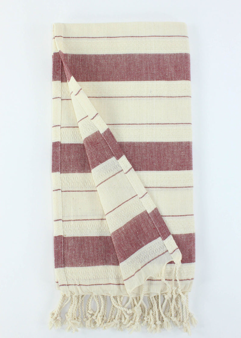 Turkish Towel - Red Stripe - AMĒNAH