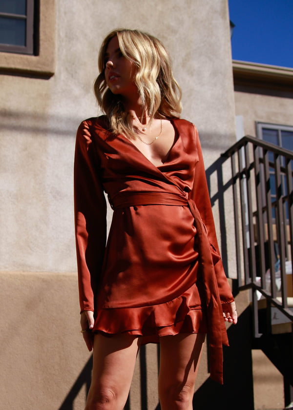 Long Sleeve Satin Wrap Mini Dress - Copper - AMĒNAH